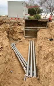 photo of new power conduits being prepared for installation