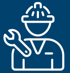 Icon of a person wearing a hard hat and carrying a wrench, representing Liberty Gandy Pipeline repair services